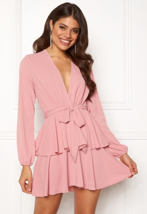 John Zack Deep Ruffle Skater Dress Pink M (UK12)