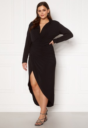 John Zack Curve Long Sleeve Rouch Curve Dress Black 48 (UK20)