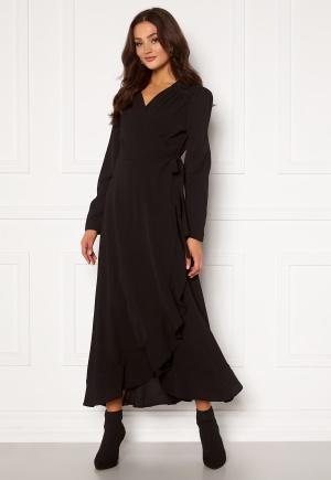 John Zack Long Sleeve Wrap Frill Maxi Dress Black XL (UK16)