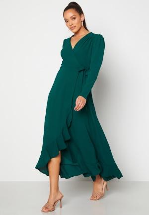 Image of John Zack Long Sleeve Wrap Frill Maxi Dress Forest Green L (UK14)