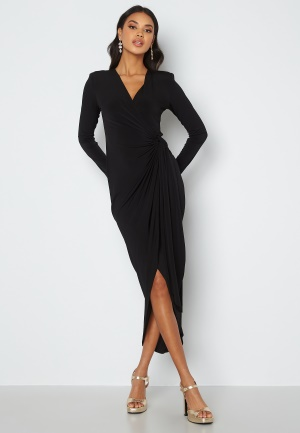 John Zack Long Sleeve Wrap Maxi Dress Black XL (UK16)