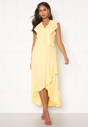 Image of John Zack Ruffle Wrap Midaxi Dress Lemon XL (UK16)