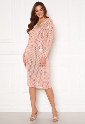 John Zack Sequin Deep V Batwing Sleeve Midi Dress Blush M (UK12)