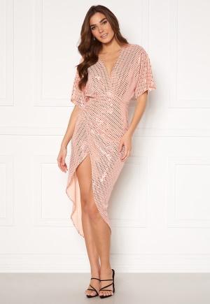 John Zack Sequin Kimono Sleeve Rouch Dress Blush L (UK14)