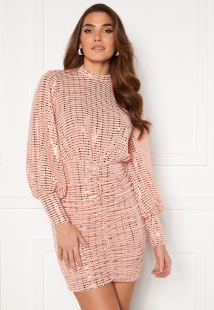 John Zack Sequin Long Sleeve Rouched Mini Dress Blush XS (UK8)