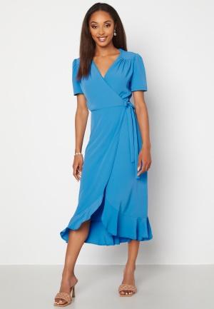 Image of John Zack Short Sleeve Wrap Dress Dusty Blue XXL (UK18)