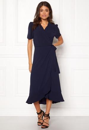 John Zack Short Sleeve Wrap Dress Navy XL (UK16)