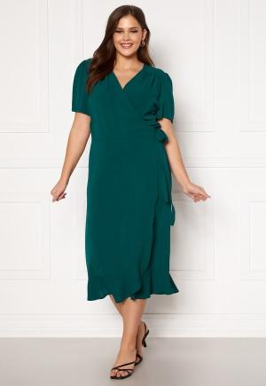 Image of John Zack Curve Short Sleeve Wrap Frill Curve Dress Green 44 (UK16)