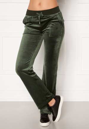 Juicy Couture Del Ray Classic Velour Pant Dark Moss XS
