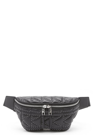 Karl Lagerfeld Quilted Stud Bumbag Black/Nickel One size