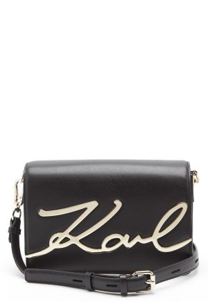 Karl Lagerfeld Signature Shoulder Bag Black/Gold One size