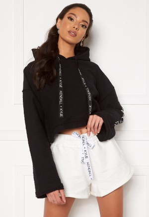 KENDALL + KYLIE K&K Active Hoody Inside Out Sweater Short Black L