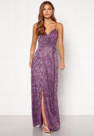 Goddiva Lace Wrap Maxi Dress Dusty Lavender M (UK12)