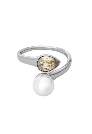 LILY AND ROSE Ella Pearl Ring Ivory Silver One size