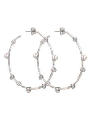 LILY AND ROSE Jagger Hoops Earrings Ivory Silver One size