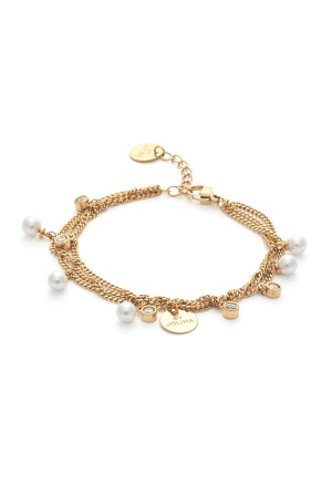 BY JOLIMA Liz Multi Charm Bracelet Milky White Gold One size