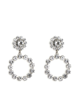 Love Rocks Crystal Ring Drop Earring Silver One size