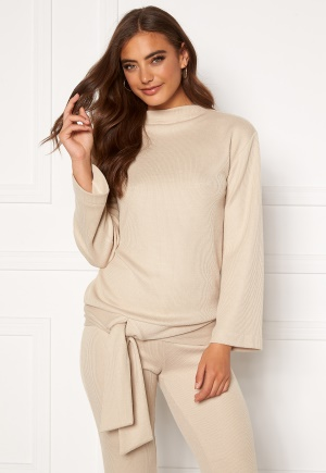 Moa Mattsson X Bubbleroom Cozy tie rib sweater Light beige XL