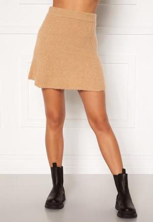 Moa Mattsson X Bubbleroom Knitted short skirt Camel XL