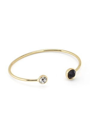 BY JOLIMA Moon Bracelet Open Bangle Black/Gold One size