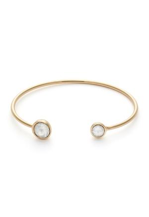 BY JOLIMA Moon Bracelet Milky White Gold One size