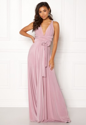 Goddiva Multi Tie Maxi Dress Dusty Pink S (UK10)
