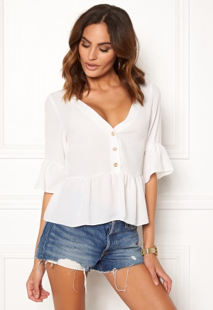 New Look Airflow Button Blouse Winter white L (UK14)