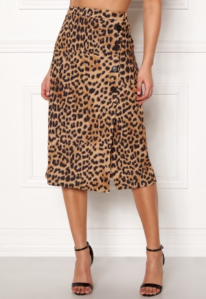 New Look Animal Asym Button Skirt Brown Pattern L (UK14)