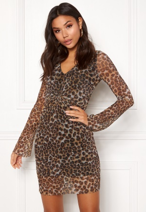 New Look Animal Plisse Twist Dress Brown Pattern L (UK14)