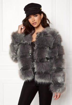 New Look Pelted Fur Short Coat Grey L (UK14)