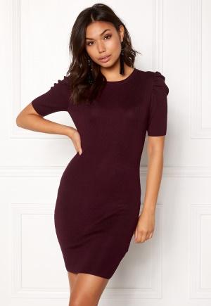 New Look Puff Sleeve Bodycon Dress Burgundy L (UK14) thumbnail