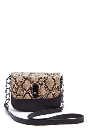 New Look Samira Snake Saddle Bag Black Pattern One size