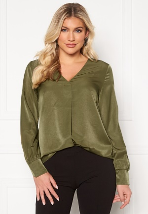 OBJECT Eileen L/S V-Neck Top Burnt Olive 34
