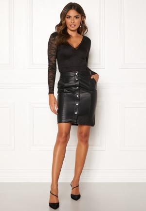 OBJECT Nima HW Leather Skirt Black 42