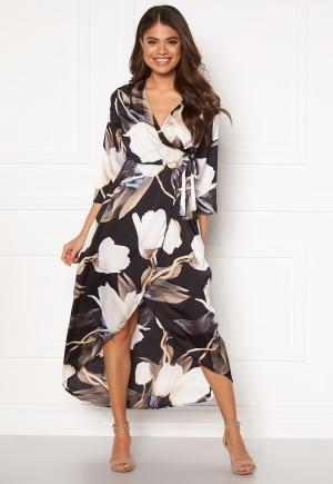 OBJECT Pania Wrap Dress Black AOP 36