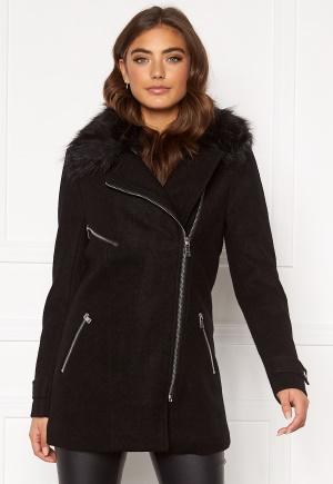 ONLY Carol Wool Fur Biker Coat Black M