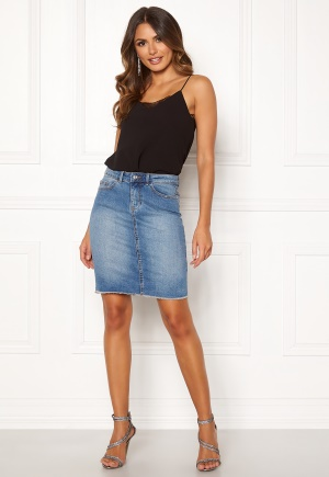 ONLY Eliza Reg Raw Edge Skirt Medium Blue Denim 36