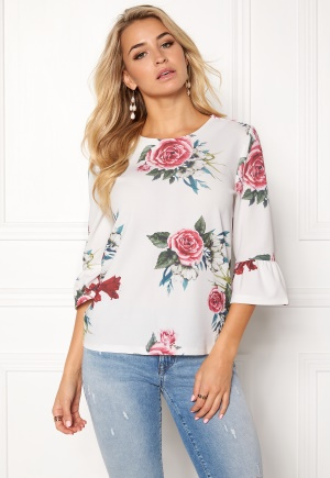 ONLY Kenni 3/4 Sleeve Top Cloud Dancer Flower S thumbnail