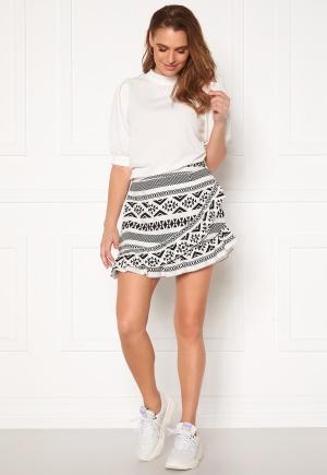 ONLY Lucca Wrap Skirt White, AOP CD/Black 40