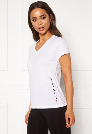 ONLY PLAY Performance ATHL V-Neck SS Tee White XL