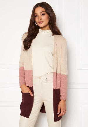 ONLY Queen L/S Cardigan Sand/W. Dusty pink XL