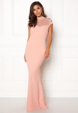 Image of Goddiva Open Back Lace Maxi Dress Nude S (UK10)