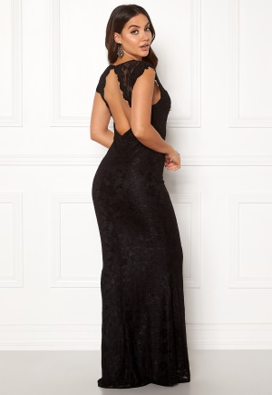 Image of Goddiva Open Back Lace Maxi Dress Black XL (UK16)