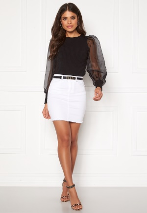 Pieces Aia MW Denim Skirt Bright White L