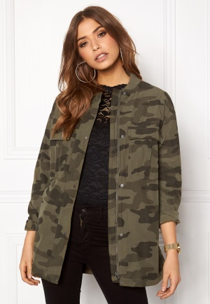 Pieces Camo Long Bomber Jacket Olive Green M