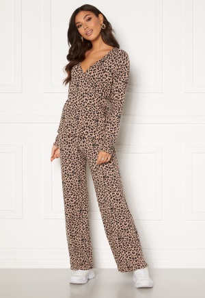 Pieces Polly MW Pant Warm Taupe AOP Leo L