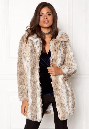 QED London Leopard Faux Fur Coat Snow Leopard L (UK14)
