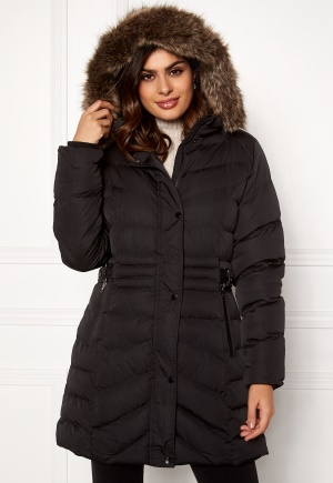 QED London Quilted Long Puffer Coat Black L (UK14)
