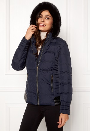 QED London Quilted Short Puffer Coat Navy L (UK14)