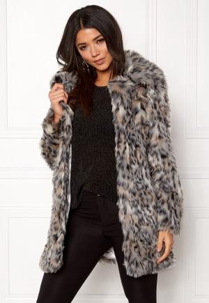 QED London Wild Cat Faux Fur Coat Wild Cat L (UK14)